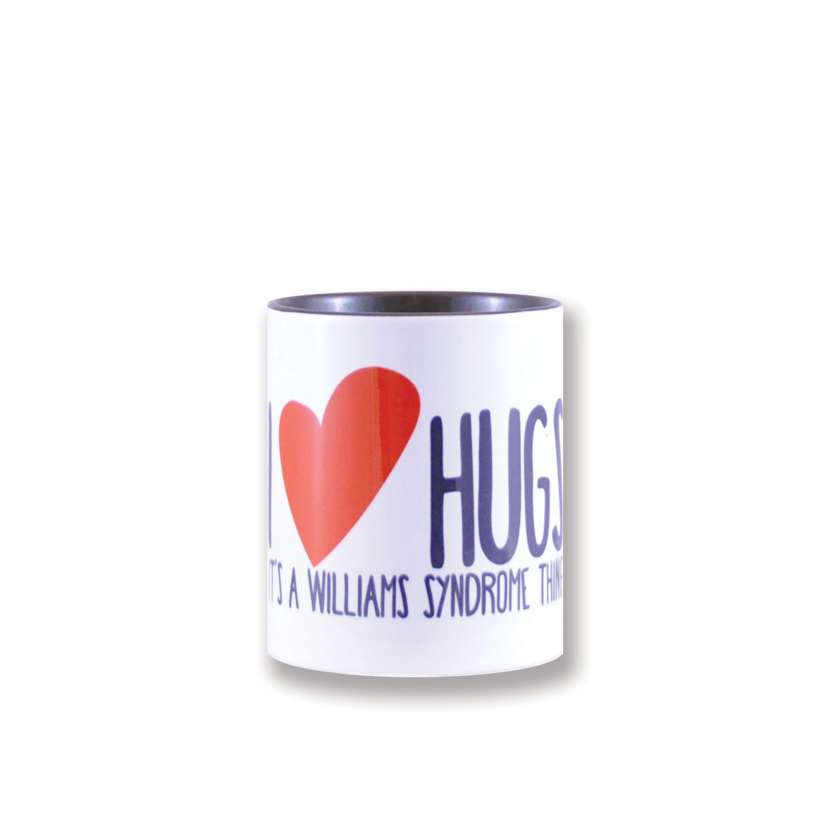 wiliamssyndrome.ca // CAWS I heart hugs mug